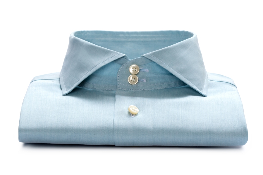 www.richardfox.co Pale blue two button collar custom shirt.