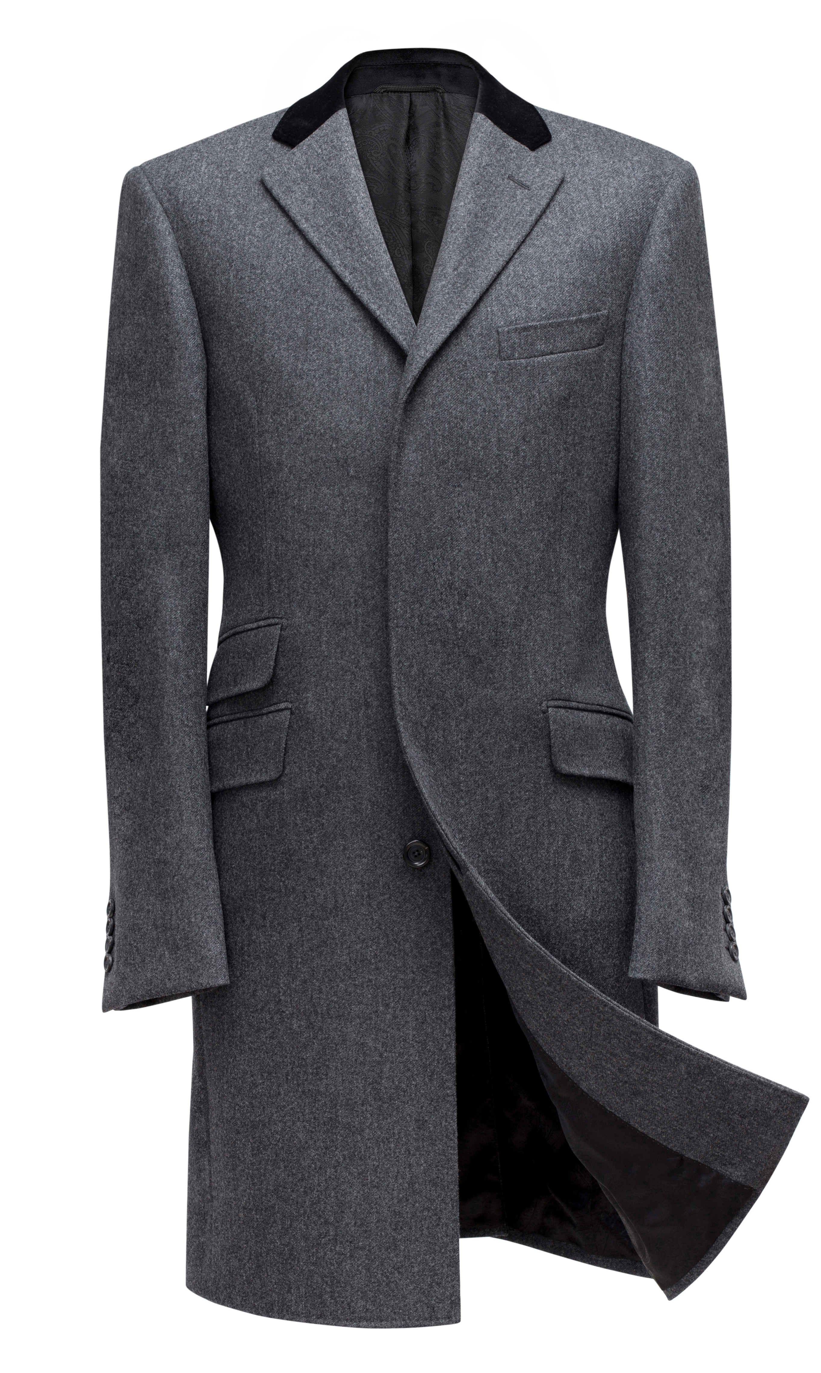 www.richardfox.co Gray Fly Front Covert Coat