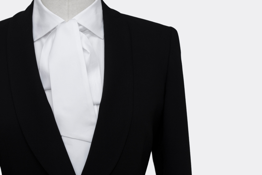 "www.richardfox.co Ladies Black Suit with white ""tie-neck"" shirt"